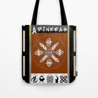 tote bag Tote Bags featuring Adinkra Symbol Tote Bag by Sarah Pearl