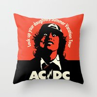 acdc Throw Pillows featuring Ac/Dc angus young by aceofspades81