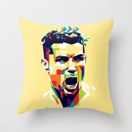 colorful illustration of ronaldo Throw Pillow