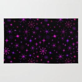 Atomic Starry Night in Neon Pink Glow Rug