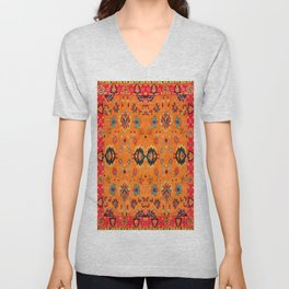 Orange Bohemian Oriental Traditional Moroccan Artwork Unisex V-Neck
