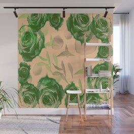 Floating Roses and Petals Wall Mural