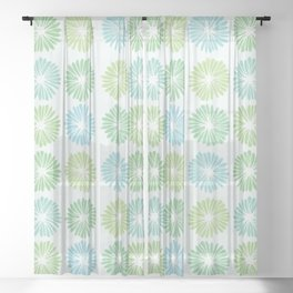 Playful Flowers in Greens Sheer Curtain