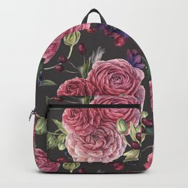 Pink Roses Romantic Pattern Grey Backpack