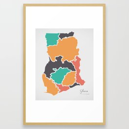 Ghana Map with states and modern round shapes Framed Art Print