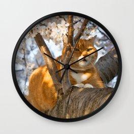 Ginger Cherry Blossom Cat Wall Clock