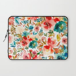 Red Turquoise Teal Floral Watercolor Laptop Sleeve