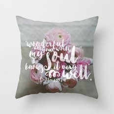 Psalm 139 14 Encouraging Scripture Ranunculus Floral Photograph Throw Pillow