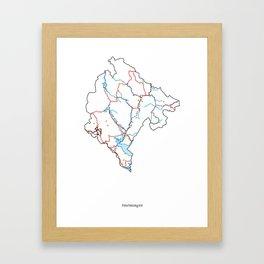 Montenegro Map Framed Art Print
