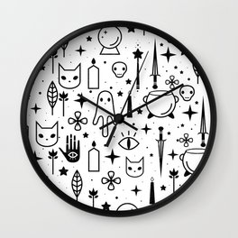 Spirit Symbols White Wall Clock