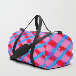 line pattern painting abstract background in pink red blue Duffle Bag