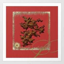 Golden flower on red Art Print