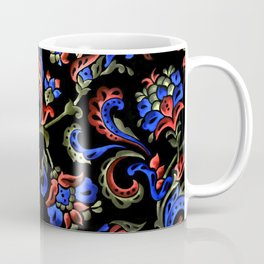 Hand-Painted Scroll Black Coffee Mug