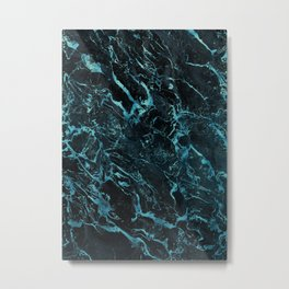Black & Teal Color Marble Metal Print
