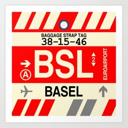 BSL Basel • Airport Code and Vintage Baggage Tag Design Art Print
