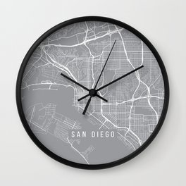 San Diego Map, California USA - Pewter Wall Clock
