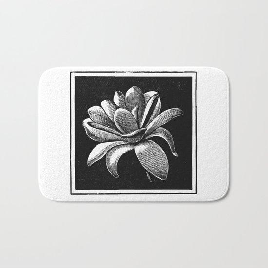 White flower Bath Mat