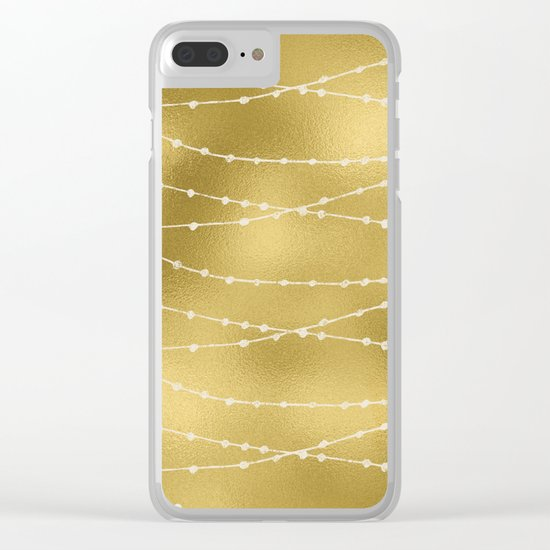 Merry christmas- white winter lights on gold pattern Clear iPhone Case