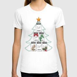 Ball Mason Jar Christmas Tree Drawing T-shirt