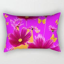 DECORATIVE YELLOW BUTTERFLIES & FUCHSIA PURPLE SPRING FLOWERS GARDEN ART Rectangular Pillow