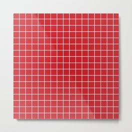 Fire engine red - red color -  White Lines Grid Pattern Metal Print