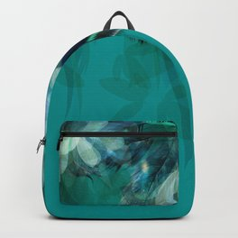 DREAMY FEATHERS & LEAVES - Deep Cyan Backpack