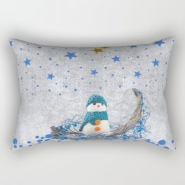 Snowman with sparkly blue stars Rectangular Pillow