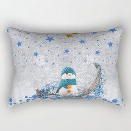 Snowman with sparkly blue stars Rectangular Pillow