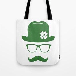 St Patricks Day Green Derby Moustache Hipster Design Tote Bag