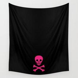 SKULL - BLACK & HOT PINK Wall Tapestry