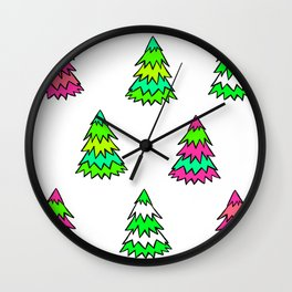 Pink Green White Christmas Trees Wall Clock