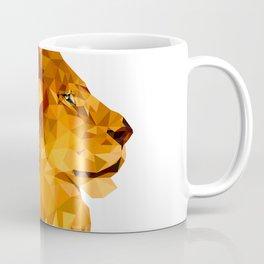 Geometric Lion Wild animals Big cat Low poly art Brown and Yellow Coffee Mug