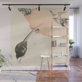 Japanese landscape in snow with birds Wall Mural