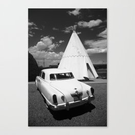 Route 66 - Wigwam Motel and Classic Car 2012 Canvas Print