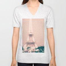Paris, Eiffel Tower lights on pink Unisex V-Neck