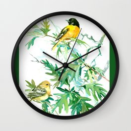 Baltimore Oriole Birds and White Oak Wall Clock