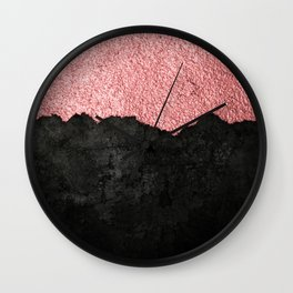 Rose Gold & Black Grunge Wall Clock