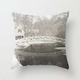 Snow Storm In Somesville, Mount Desert Island Maine Photograph Throw Pillow