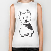 westie Biker Tanks featuring Westie Westhighland Terrier artwork by MONOFACES