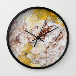 Brown, White and Yellow Abstract Art Wall Clock