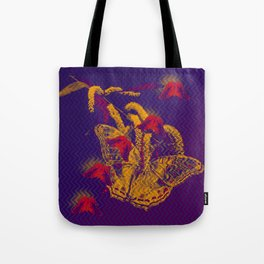 Red radioactive butterflies in glowing landscape Tote Bag