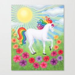 daydreamer (rainbow unicorn), sunshine, petunias Canvas Print