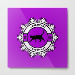 Purple/Violet I Love My Cat Metal Print