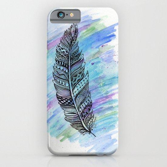 zentangle doodle watercolor feather iPhone & iPod Case