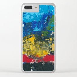 Lucas Abstract Painting Blue Black Yellow Clear iPhone Case