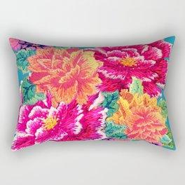 Oriental Peony Embroidery Rectangular Pillow