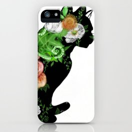Floral Cat Silhouette iPhone Case