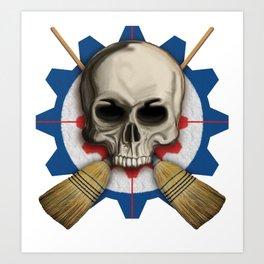 Skull & Crossbrooms - Steampunk Curling Design Art Print
