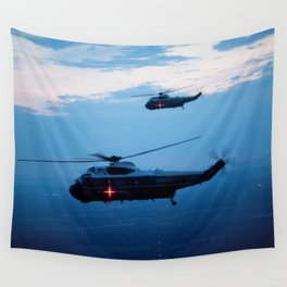 Support Helicopters Fly at Dusk Wall Tapestry
