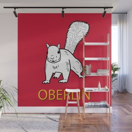 Cute Oberlin White Squirrel Illustration Wall Mural